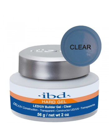 IBD Hard Gel LED/UV Builder Gel - Clear (tirštas skaidrus gelis) 56g